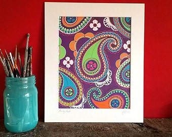 Original acrylics on watercolour paper. Mounter and signedo. Purple Paisley.