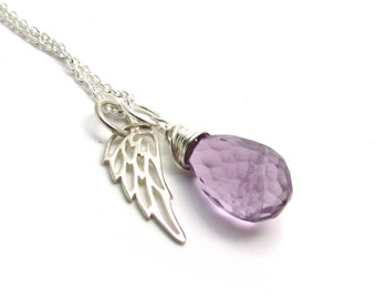 Amethyst guardian angel necklace, memorial necklace, February birthstone pendant, angel wing, purple amethyst jewelry, amethyst necklace