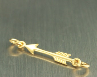 24K Gold Plated Sterling Silver Arrow Festoon--Double Jump Ring Charm--Cupid's Arrow--Archery Pendant--Bow and Arrow--Weapon Charm