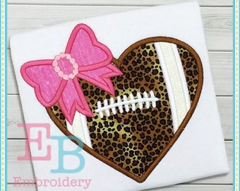 Football Heart Applique Design - This design is to be used on an embroidery machine. Instant Download
