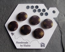 Fabric Covered Buttons - 6 x 19mm Buttons, Handmade Button, Chocolate Havanna Dark Brown Shiny Gold White Geometric Glyph Aztec Buttons 2522