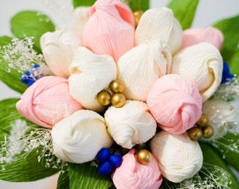 Paper Flower Bouquet, Pastel Flowers, Spring Wedding, Summer Wedding, Pink Paper Tulip Bouquet, Bridal Bouquet, Alternative Wedding Flowers