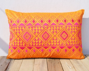 KIlim pattern embroidered pillow, Orange and pink, Polytafetta pillow cover, size 14X21 inch throw pillow