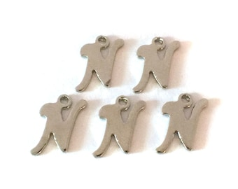 "5x Letter ""N"" Silver Plated Initial Charms - M121-N"
