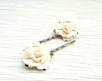 White Rose Hair Pins, Wedding Hair Accessory; Bridesmaids; Flower Girl; Set of 2
