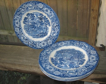 "Liberty Blue ""Monticello"" Bread Plates, Made In England, Copper Engravings Printed On Staffordshire Ironstone, Blue And White Bread Plates"