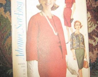 Advance Sew3-Easy Dress Pattern #3329, Two Sizes 14 And 16, Pencil Dress With Jacket, 1960's Dress Pattern, Uncut Pattern