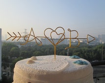Arrow Cake Topper, Two Hearts, Initials Cake Topper, Rustic Wedding Cake Toppers, Wire Initials, Wire Cake Topper, Personalized Cake Topper