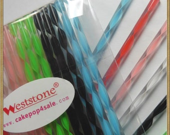 Weststone - 50pcs Colorful Acrylic swirl sticks for cake pop or lollipop candy - 7 colors