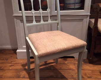 Painted and upholstered kitchen dining chair