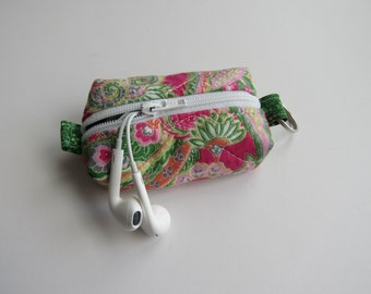 Teeny, Tiny, Miniature Duffle bag. Zipper Pouch, Keychain Pouch, Coin Purse, Keyring, Pink, Green, Paisley