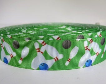 "5 yards of 1 inch ""bowling"" grosgrain ribbon"