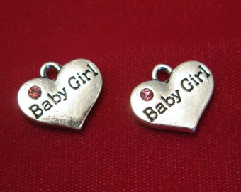 "5pc ""Baby girl"" charms in antique silver style (BC831)"