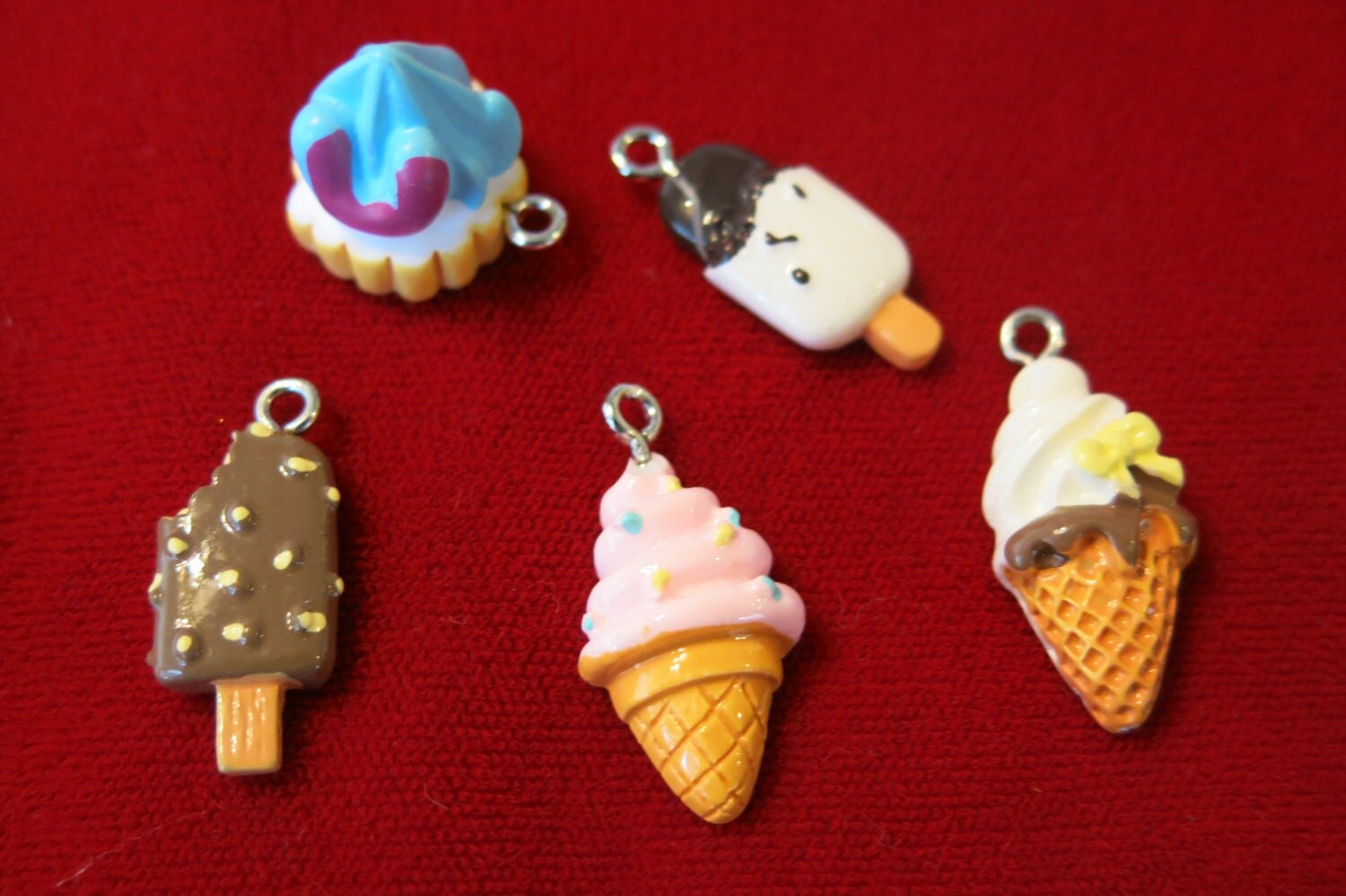 bulk 15pc ice cream resin charms lightweight