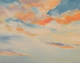 Afternoon Cloud Study, Original Oil Painting, Impressionist, Maine