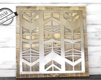Wood And Metal Wall Art arrow decor farmhouse decor wall hanging chevron art metal