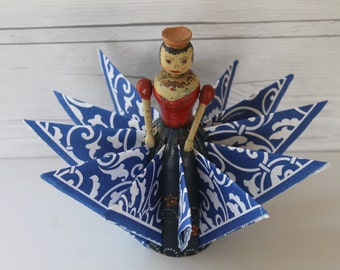 Vintage Hand Painted Wooden Doll Napkin Holder, Vintage Wood Doll Napkin Holder, Christmas Card Display, Vintage Wood Photo Display