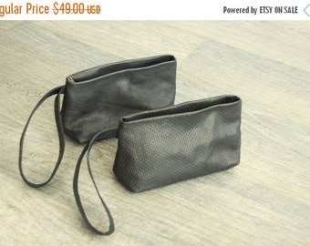 Black leather clutch -Small Evening bag -Cosmetic bag- Mini Puoch