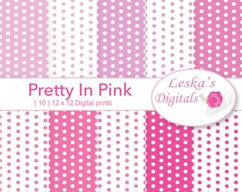 Pink digital paper, pink polkadot digital paper - Pretty in pink, pink polkadots, pink polka dots, scrapbook paper, polkadot backgrounds