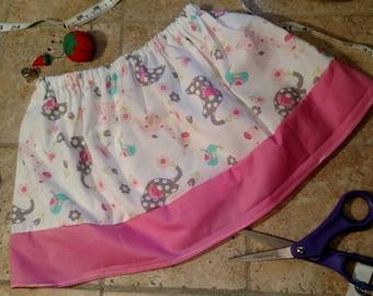 Animal skirt, 2T, toddler skirt, white and pink, Christmas present, birthday present, handmade, ready to ship