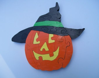 Wooden Puzzle Halloween Pumpkin