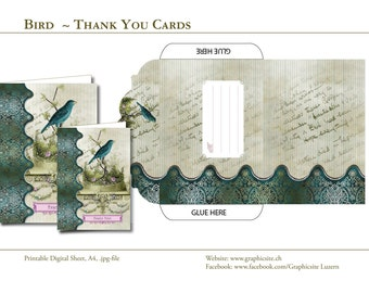 Bird - Thank You Card - Instant Download