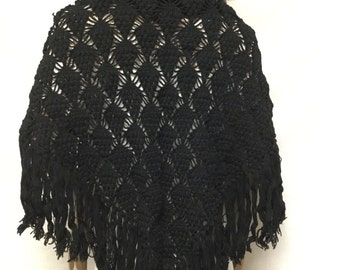 Black Knit Shawl, Fringed Wrap