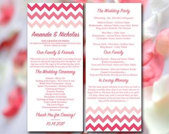 chevron wedding program pink wedding program template printable tea length program order of
