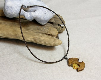 Necklace with amber and Mangrowenholz, amber necklace, wooden necklace