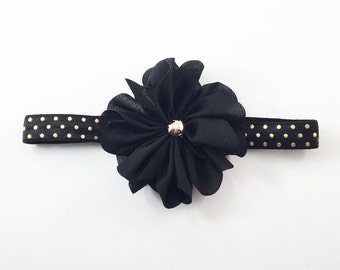 Black Headband, Black and Gold Headband, Black Flower Girl headband, Gold Headband, black birthday headband, black baby headband, black clip