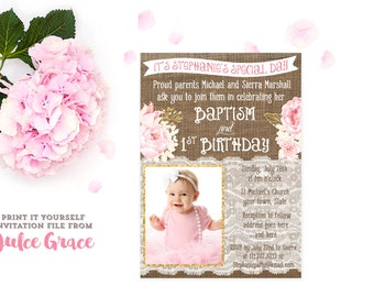 Gold Christening Etsy - Birthday invitation and christening