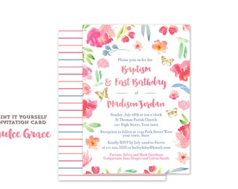 1st birthday and baptism invitations, combined christening and birthday invite, digital download invitation, pretty baptism invitation, pink