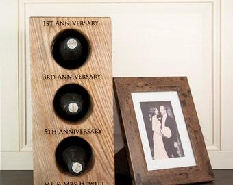 Solid Oak Wine Rack - Personalised Gift - Wedding Gift - Anniversary Gift - Mr & Mrs - Wooden Wine Rack - Wine Holder - FREE UK DELIVERY!