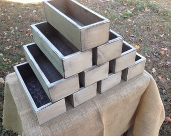 Set of Ten Rustic Wedding Centepiece Flower Boxes,Table Centerpiece Wood Flower Boxes finished in Distressed White