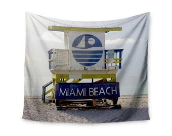 "Wall Tapestry - Blue Multicolor Philip Brown ""Miami Beach lifeguard Stand"" PB2003A Great Gift Idea!"