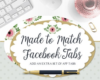 Premade Facebook Tabs - EXTRA Made to Match Tabs to Match any Premade Facebook Sets in the Shop - For Previously Purchased Facebook Sets