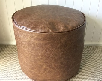 Industrial / Vintage Distressed Brown Bark Faux Leather Floor Cushion/ Ottoman / Pouf Cover