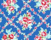 Lecien Flower Sugar, Fall 2015, Dark Blue with Rose Lattice, Half Yard, LEC31269-77