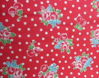 Sale - Lecien Flower Sugar Fall 2014 Roses Cherries and Dots in Red, Half Yard