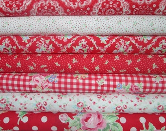 Lecien Flower Sugar, Fall 2015, Red and White, Fat Quarter Bundle of 7, Japanese Fabric