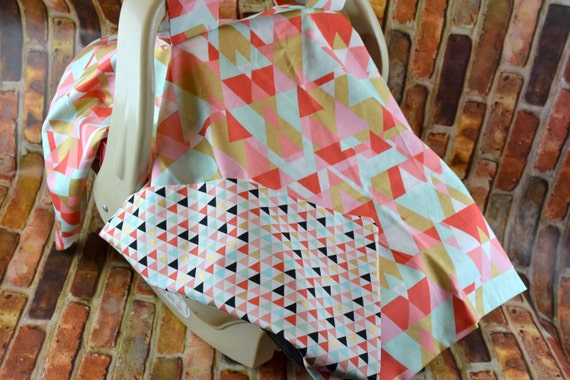 infant car seat canopy geometric fabric print baby shower. Black Bedroom Furniture Sets. Home Design Ideas