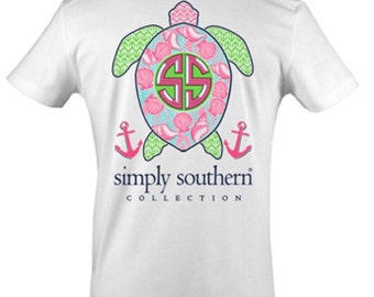 SIMPLY SOUTHERN ~ Authentic Simply Southern ~ Turtle ~ Preppy Turtle Shell ~ Short Sleeve Shirt