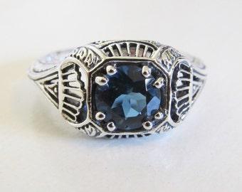 Natural London Blue Topaz Filigree Ring Sterling Silver/ Antique Vintage Victorian Art Nouveau Deco