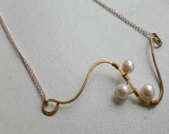 Seedlings of Freshwater Pearls Wire Wrapped Necklace