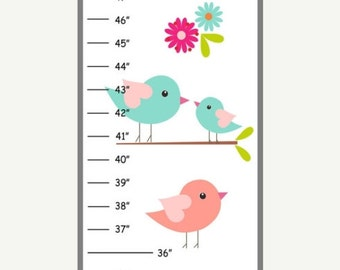 ON SALE Personalized Teal and Coral Birds Canvas Growth Chart
