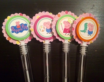 Peppa inspired bubble wand party favors.
