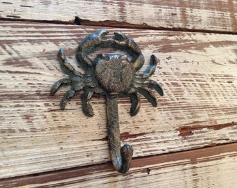 Cast Iron Crab Hook Crab Key Hook Crab Coat Hook Crab Towel Hook coastal hook nautical hook beach towel hook crab kitchen towel hook