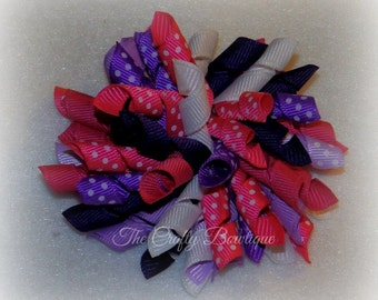 Pink & Purple Bow ~ Hot Pink Korker Bow ~ Purple Korker Bow ~ Pink Polka Dot Bow ~  Purple Polka Dot Bow ~ Large Purple Bow ~ Large Pink Bow