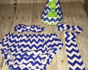 Boys Cake Smash Outfit - Blue Chevron - Diaper Cover, Tie & Birthday Hat - Birthday Set