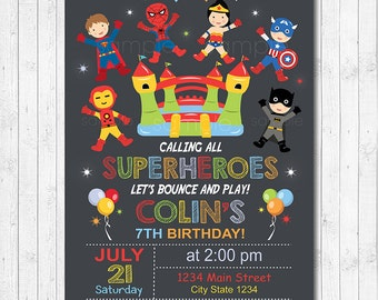 Superheroes Bounce House Invitation, Superhero Birthday Invitation, Bounce House Invitation, Jump Invitation, chalkboard, printable